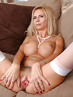 Beautiful blonde Anilos lady shows off her big breasts and juicy milf pussy