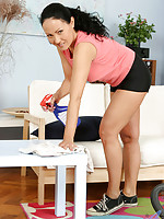 Lovely housewife vacuums topless and then strips the rest of her clothing off